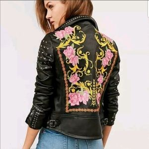 BNWT Silence and Noise Embroidered Leather Jacket